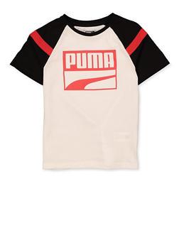 Boys Puma White Color Block Tee - 1704075230202