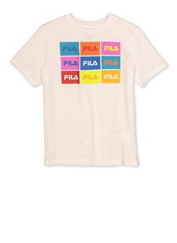 Boys Fila Box Logo White T Shirt - 1704075650310