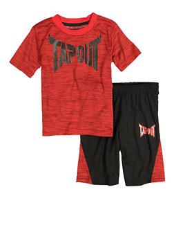 Little Boys Tapout Marled Graphic Tee and Shorts - 1709061950201