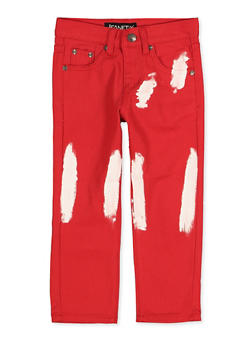 Little Boys Paint Brushed Red Jeans - 1719074740192