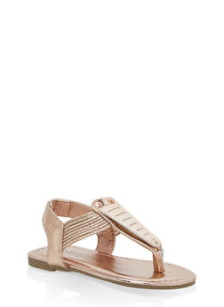Girls 5-10 Metallic Detail Thong Sandals - ROSE GOLD - 1737014060012