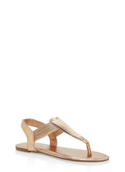 Girls 11-4 Metallic Accent Thong Sandals - 1737014060039
