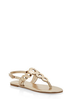 Girls 11-4 Metallic Ring Thong Sandals - GOLD - 1737014060041