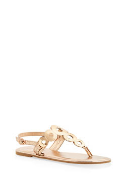 Girls 11-4 Metallic Rhinestone Strap Sandals - 1737014060044