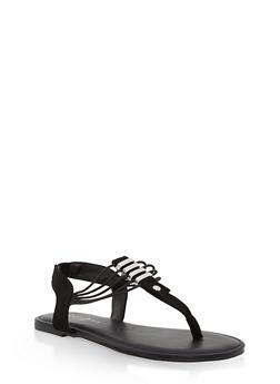 Girls 11-4 Strappy Metallic Bar Thong Sandals - BLACK - 1737014060045