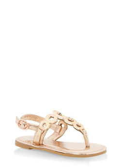 Girls 5-10 Metallic Ring Thong Sandals - GOLD S - 1737014060049