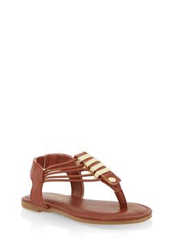 Girls 5-10 Elastic Strap Metallic Detail Sandals - CHESTNUT - 1737014060051