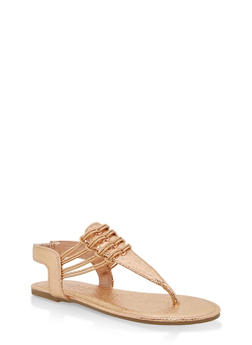 Girls 11-4 Elastic Strap Sandals - GOLD S - 1737014060053