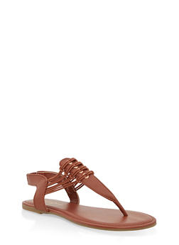 Girls 11-4 Elastic Strap Thong Sandals - CHESTNUT - 1737014060054