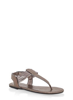 Girls 12-4 Elastic Strap Shimmer Thong Sandals - 1737014060055