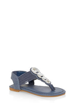 Girls 5-10 Metallic Circle Thong Sandals - 1737014060057