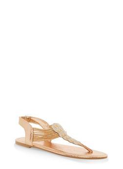 Girls 11-4 Studded Metallic Elastic T Strap Sandals - ROSE GOLD - 1737014060058