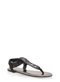 Girls 12-4 Rhinestone Studded Thong Sandals - BLACK - 1737014060061
