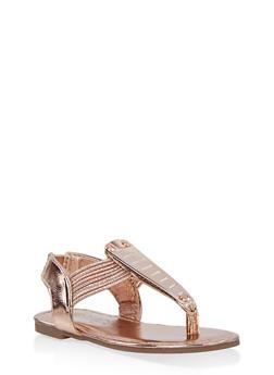 Girls 5-10 Metallic Detail Sandals   1737014060070 - 1737014060070