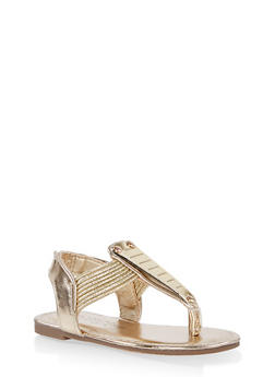 Girls 5-10 Metallic Detail Sandals | 1737014060070 - 1737014060070