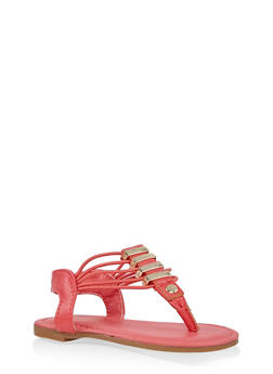 Girls 5-10 Metallic Detail Sandals - 1737014060077