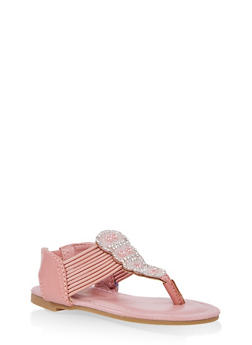 Girls 5-10 Strappy Rhinestone Sandals - 1737014060079