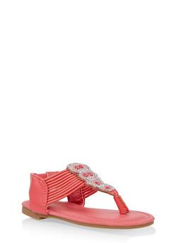 Girls 5-10 Strappy Rhinestone Sandals - Pink - Size 10 - 1737014060079
