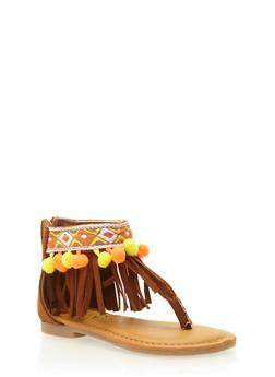 Girls 5-10 Pom Pom Fringe Thong Sandals - 1737014062028