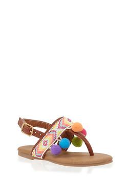 Girls 5-10 Tribal Thong Sandals with Pom Pom Trim - 1737046950024