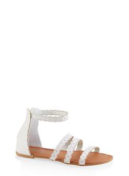 Girls 11-4 Laser Cut Sandals - 1737046950099