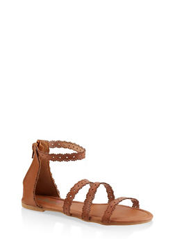 Girls 11-4 Laser Cut Sandals - 1737046950099