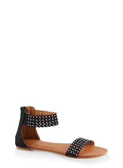 Girls 12-4 Studded Laser Cut Sandals - 1737046950100
