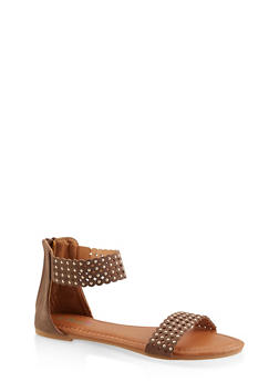 Girls 12-4 Studded Laser Cut Sandals - 1737046950100