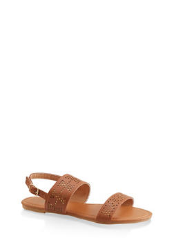 Girls 11-4 Laser Cut Foil Ankle Strap Sandals - 1737046950102