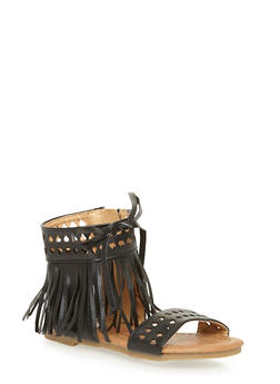 Girls 5-10 Fringe Sandals with Cutouts and Bow - 1737061120183