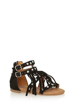Girls 5-10 Studded Fringe Faux Suede Gladiator Sandals - 1737061120255