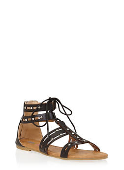 Girls 11-4 Studded Lace Up Gladiator Sandals with Cutouts - 1737061120311