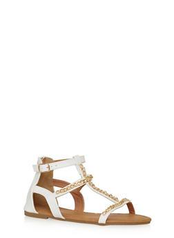 Girls 11-4 Chain Link T Strap Sandals - 1737061120382