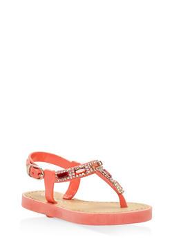Girls 6-11 Rhinestone Thong Sandals - 1737062720009