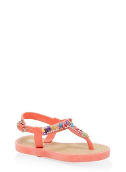 Girls 6-11 Pebble Rhinestone T Strap Sandals - 1737062720073