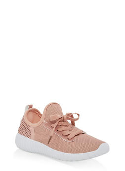 Girls 12-4 Knit Lace Up Running Sneakers - BLUSH - 1737062720079