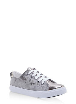 Girls 11-4 Crushed Velvet Lace Up Sneakers - GREY - 1737062720086