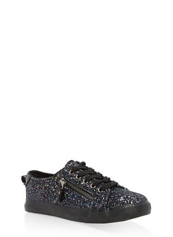 Girls 12-4 Glitter Lace Up Sneakers - 1737062720100