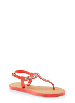 Girls 12-4 Rhinestone Jelly Thong Sandals - 1737062720110