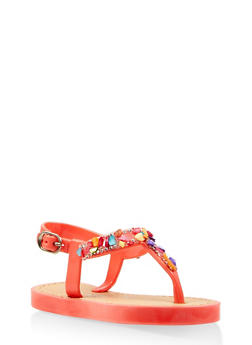 Girls 6-11 Bejeweled T Strap Sandals - 1737062720115