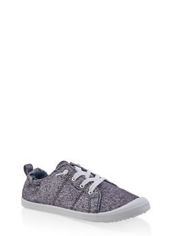 Girls 12-4 Glitter Knit Cinched Back Sneakers - 1737062720123