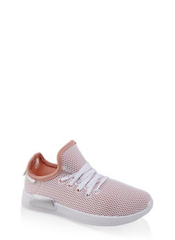 Girls 12-4 Mesh Lace Up Athletic Sneakers - White - Size 1 - 1737062720126