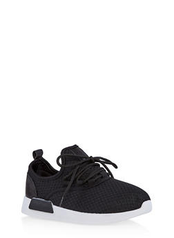 Girls 12-4 Lace Up Knit Sneakers - 1737062720127