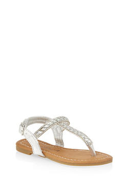 Girls 6-11 Jeweled Thong Sandals - 1737062720132