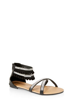 Girls 12-4 Rhinestone Criss Cross Sandals - 1737062720139