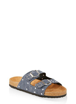 Girls 12-4 Studded Double Strap Footbed Sandals - 1737062720141