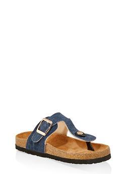 Girls 12-4 Buckle Thong Footbed Sandals - 1737062720142