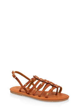 Girls 12-4 Flower Caged Ankle Strap Sandals - 1737062720147