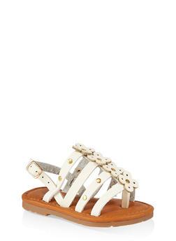 Girls 6-11 Studded Flower Sandals - 1737062720148