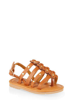 Girls 6-11 Studded Flower Sandals - 1737062720148
